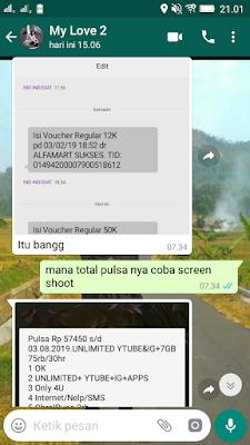 Bukti Pembayaran Pulsa Gratis Indosat Im3 Ooredoo dari Akulaku Android
