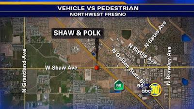 fresno car crash pedestrian shaw polk avenues