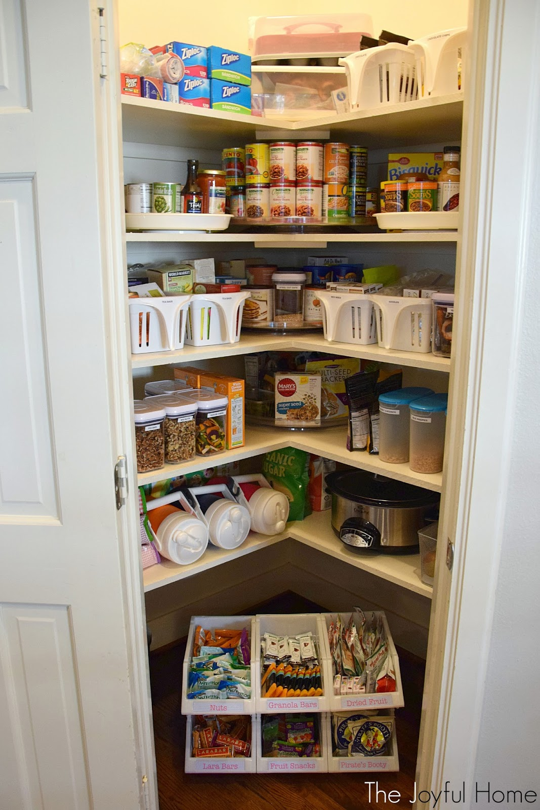 because of its unique shape the shelves here are really deep when we bought our home four years ago i quickly learned how easy it was to lose things on - Organized Pantry