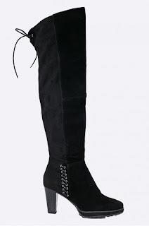 Cizme elegante de iarna pana la genunchi, negre din piele intoarsa cu toc mediu gros  - Tamaris