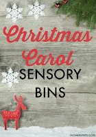 Christmas carols sensory bins for kids