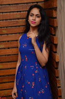 Pallavi Dora Actress in Sleeveless Blue Short dress at Prema Entha Madhuram Priyuraalu Antha Katinam teaser launch 001.jpg