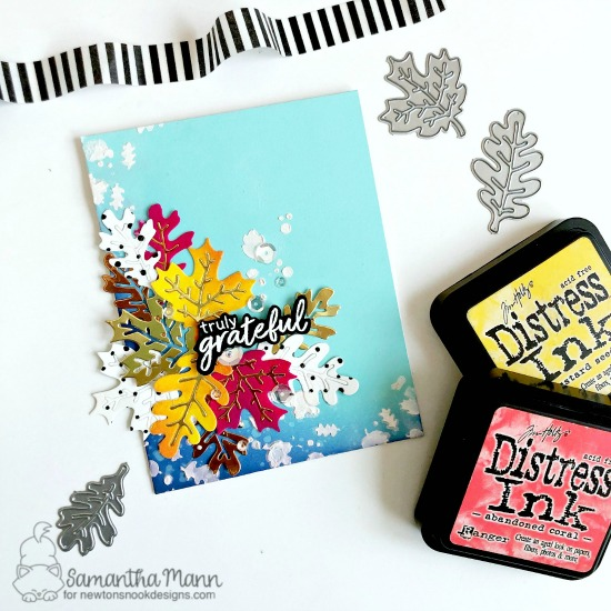 Newton's Nook Designs & Therm O Web Inspiration Week - Fall Leaves card by Samantha Mann | Autumn Leaves Die Set and Falling Leaves Stencil by Newton's Nook Designs and Flock Transfer Sheets by Therm O Web #newtonsnook #thermoweb