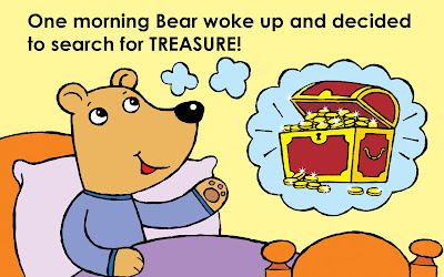 Illustration of bear waking up and deciding to search for treasure