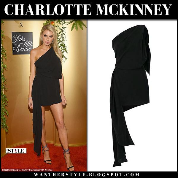 Charlotte McKinney in black one shoulder mini dress saint laurent red carpet style september 12