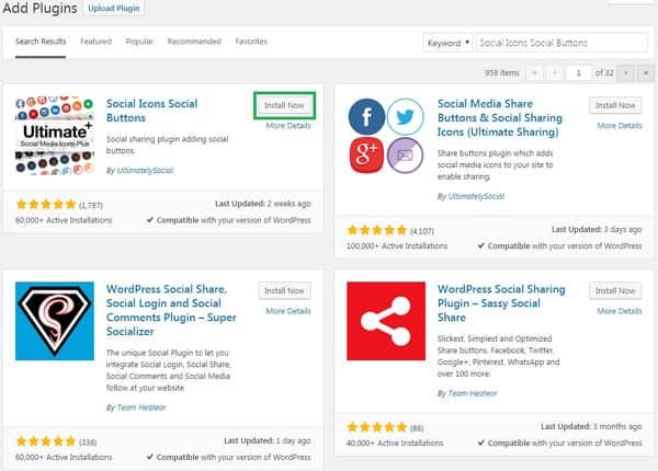 Social icon social buttons plugin install kare