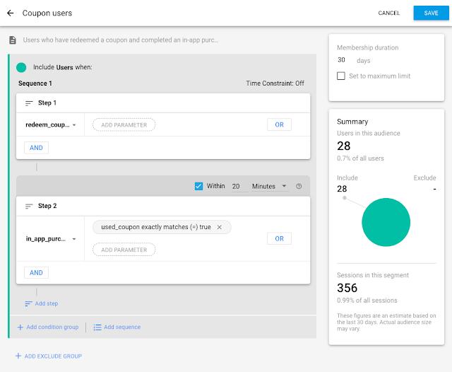 Generatore di segmenti di pubblico nella dashboard Firebase Performance Monitoring