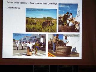 Imatges que es van mostrar a la pantalla de projeccions  durant el Taller de la Memòria Oral de Lavern corresponent a diverses edicions de la Festa de la Verema i el Most de Sant Jaume dels Domenys