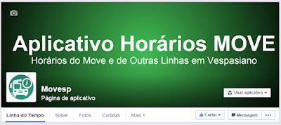 Página do Facebook - Aplicativo Horários Move Morro Alto