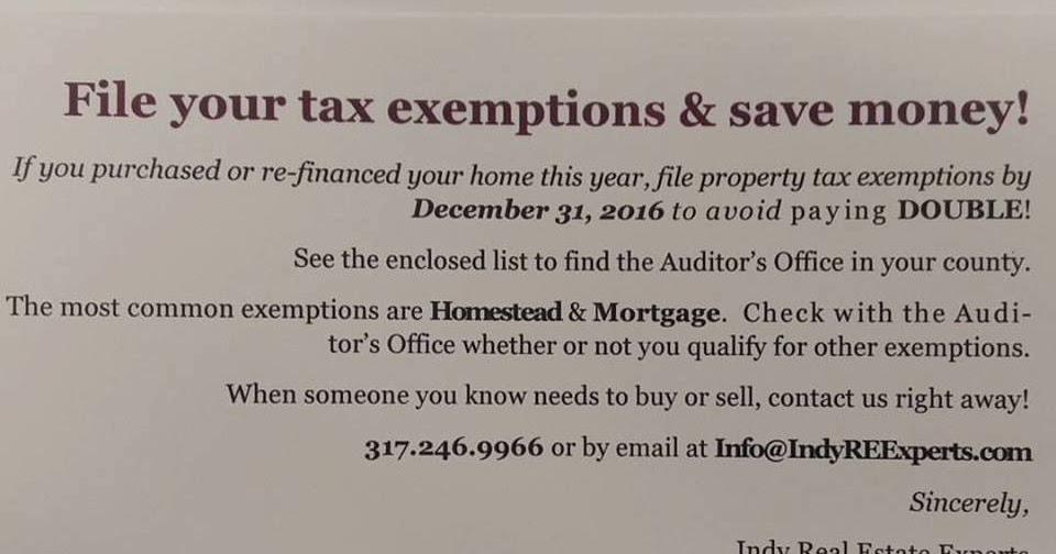 Indiana Property Tax Exemption