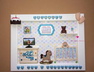 Quadretto da bimbo per il primo compleanno con elementi tridimensionali fatti a mano in fimo