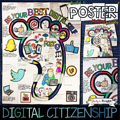 "This Digital Citizenship writing activity poster is triple the fun with the combination of coloring, creativity, and group work! All inspired by promoting good digital citizenship in your classroom. The collaborative poster comes with a discussion handout for, ""how can you be a good digital citizen."" The poster features social media, downloading files, posting messages and pictures, using apps, publishing content, a writing prompt and brain friendly fun."