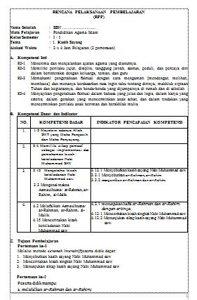 RPP PAI Kelas 1 - 6 SD/MI Kurikulum 2013