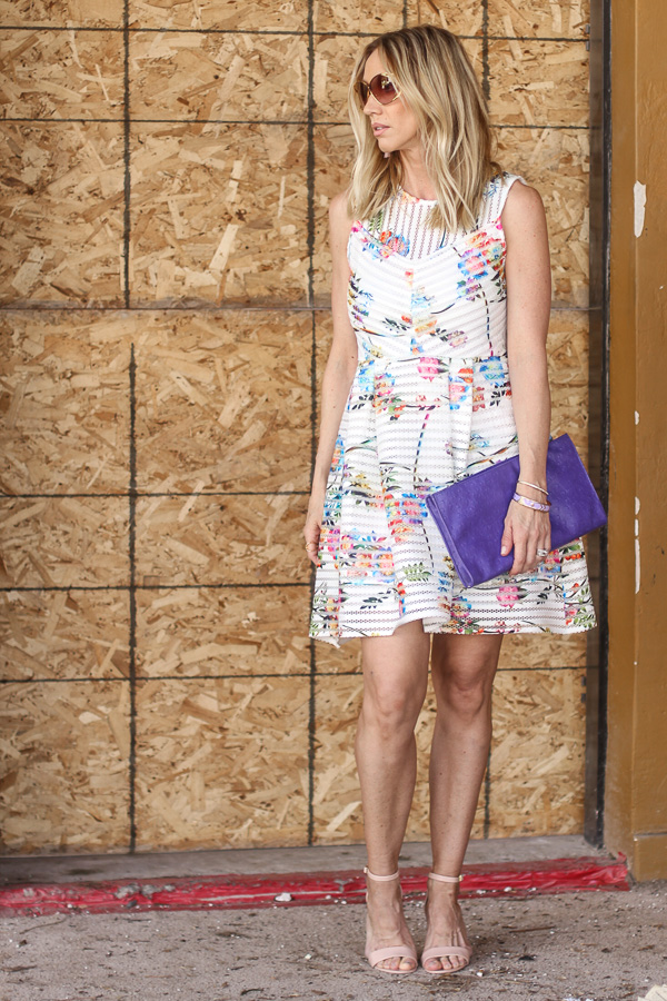 gabby skye floral scuba mesh fit and flare dress