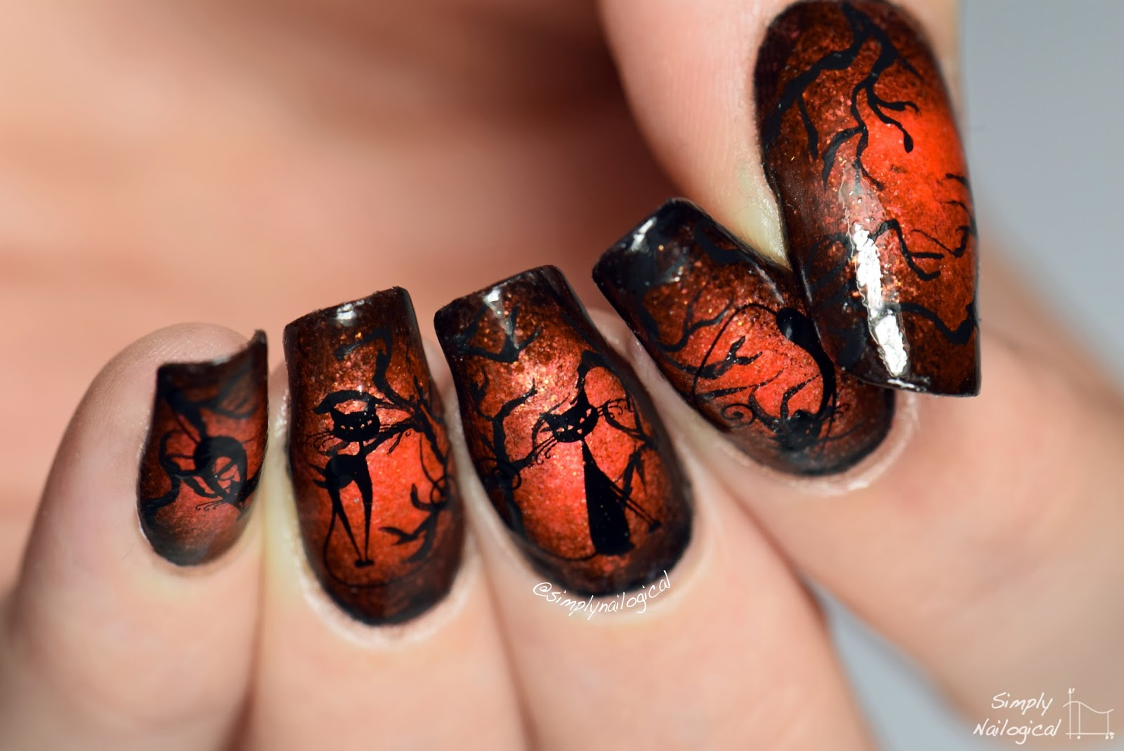 Simply Nailogical: Glowing Halloween cat nails
