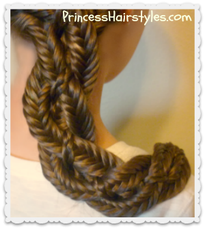 Four strand fishtail braid, centipede braid