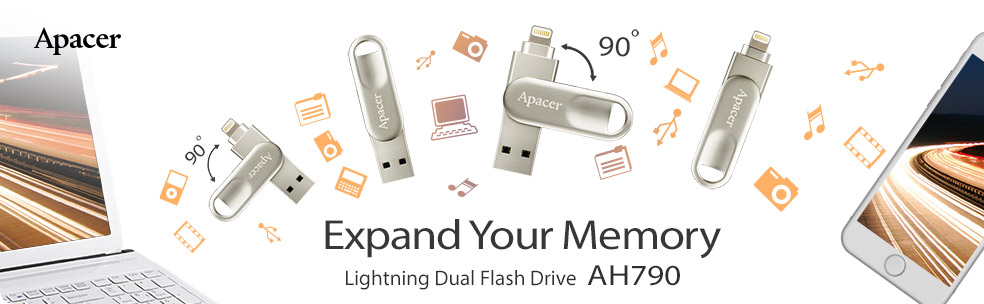 Apacer AH790 Lightning Swivel USB Flash Drive for iPhone/iPad