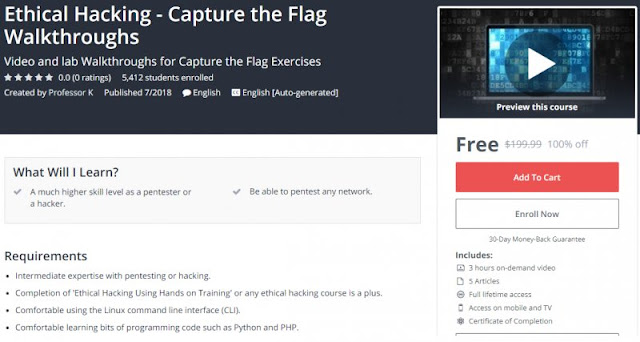 [100% Off] Ethical Hacking - Capture the Flag Walkthroughs| Worth 199,99$