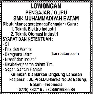 Lowongan Kerja SMK Muhammadiyah Batam