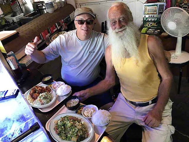 Thomas Corrao and Ryukyu Mike at a restaurant