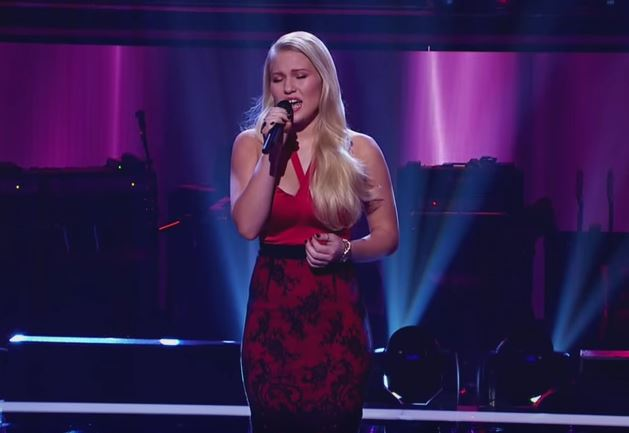 "Video Screen Capture - Anja Nissen singing ""His Eye Is On The Sparrow"" on The Voice Australia"