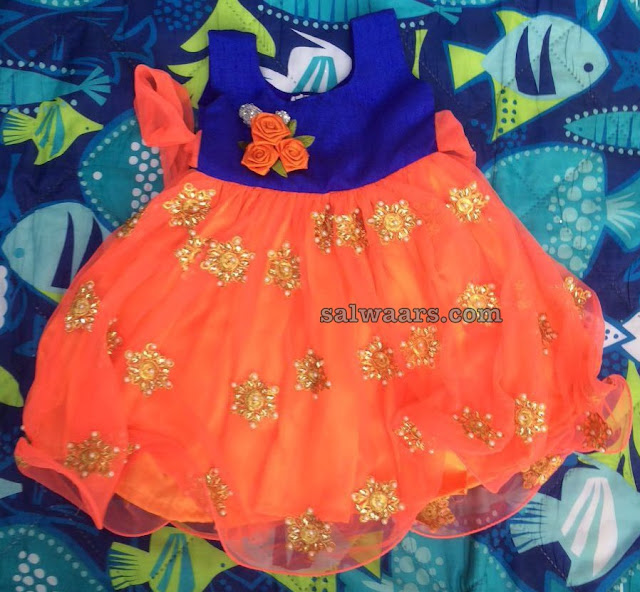Simple Kids frock in Orange