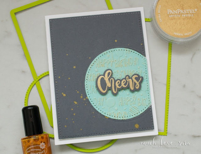 Handmade birthday card - DIY this classy, clean and simple, birthday card.  Using Fun Stampers Journey products, including the NEW Birthday Bash Embossing Folder, and Good Stuff Stamp Set | muchlovesara.com