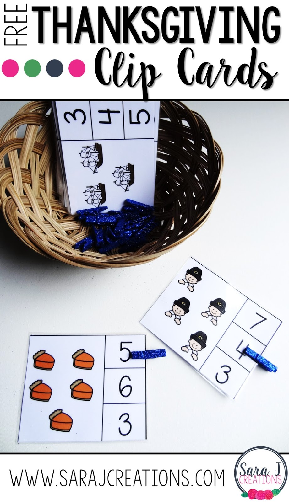 Thanksgiving counting clip cards are an easy way to practice counting objects up to 30.  Grab your freebie now!