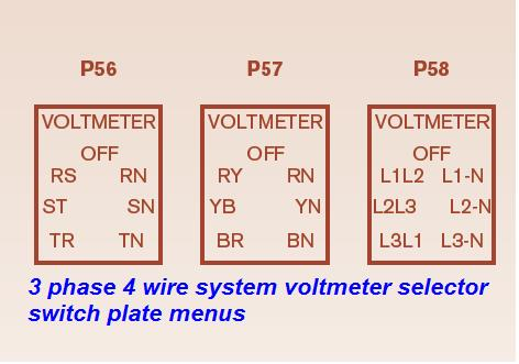 voltmeter%2Bselector%2Bswitch%2Bplate%2Bmenus voltmeter selector switch wiring installation for 3 phase 4 wire voltmeter wiring diagram at fashall.co