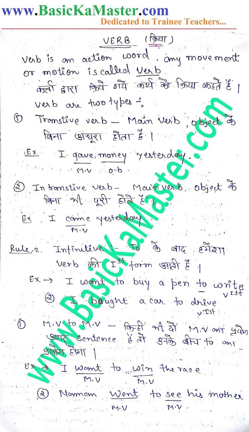 English Hand written Notes- 4 (Verb)