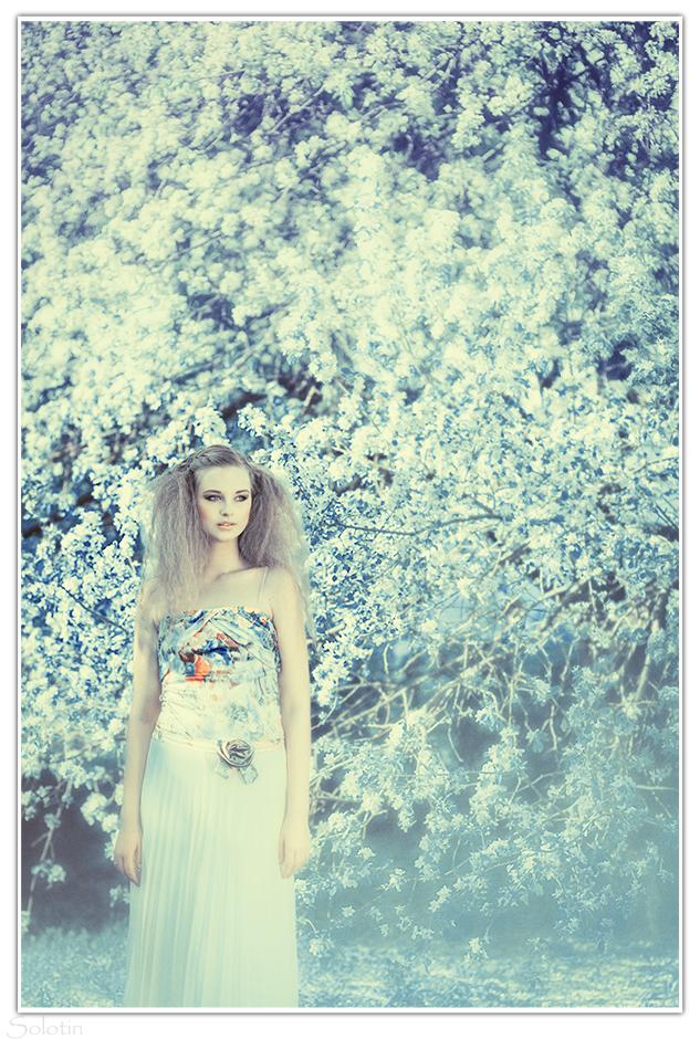 фотосессия с цветущей яблоней