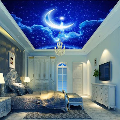 Glow in the dark ceiling murals and wallpaper
