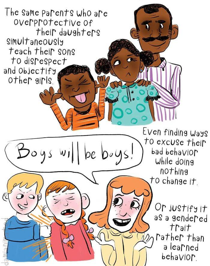 Guy's Comic Illustrates How Little Boys Develop Sexism From Their Interactions With Adults