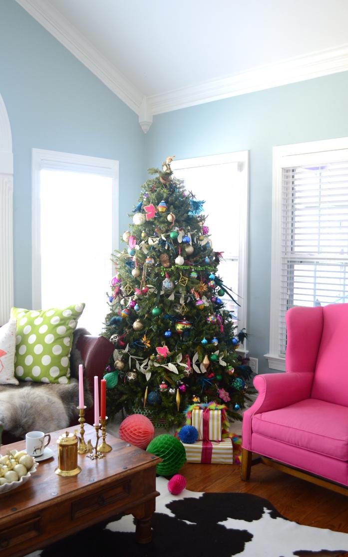 Colorful Holiday Decor and Christmas Tree