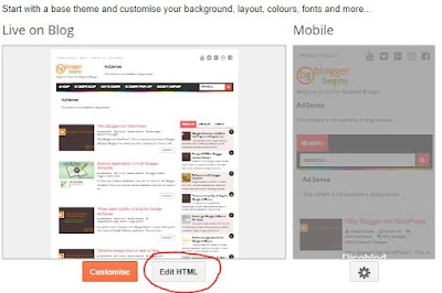 Edit HTML option in Blogger Dashboard Theme Setting