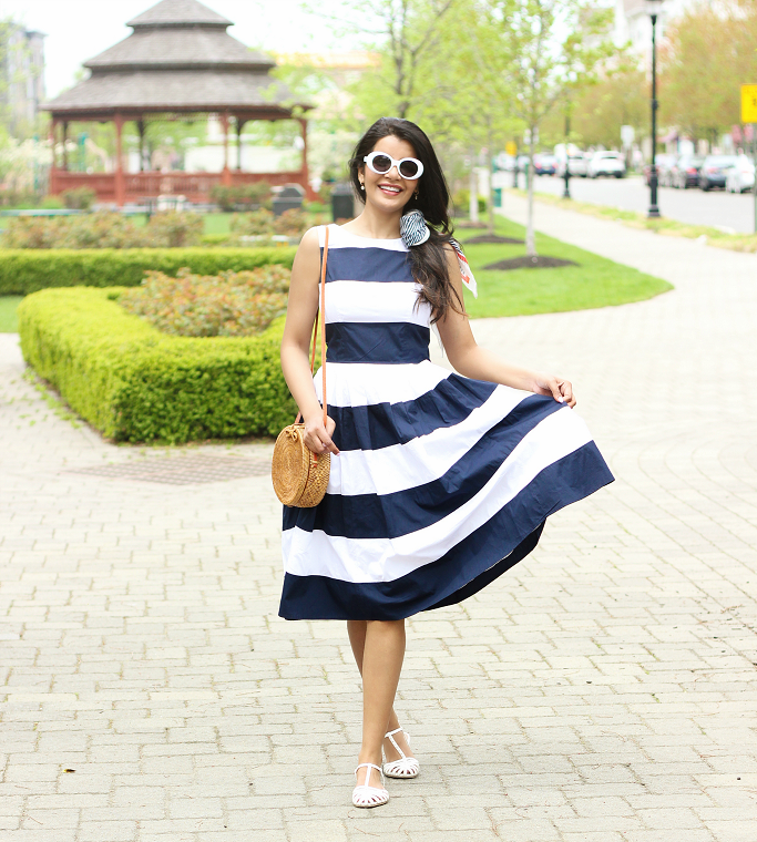 Fit & Flare Dress For Spring, Striped fit and flare dress, Blue and white striped dress, nautical dress for summer, blue and yellow bike for women, pretty cruisers for women