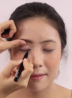 Using Amaterasu Liquid Eyeliner Black for a thin eyeliner will make a big difference wing it out a little toward the end.