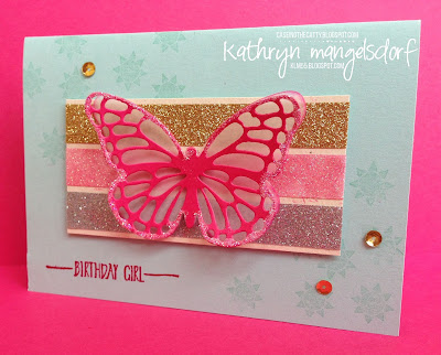 Stampin' Up! Metallics Glitter Tape and Hello 2016 Sale-a-bration birthday card by Kathryn Mangelsdorf