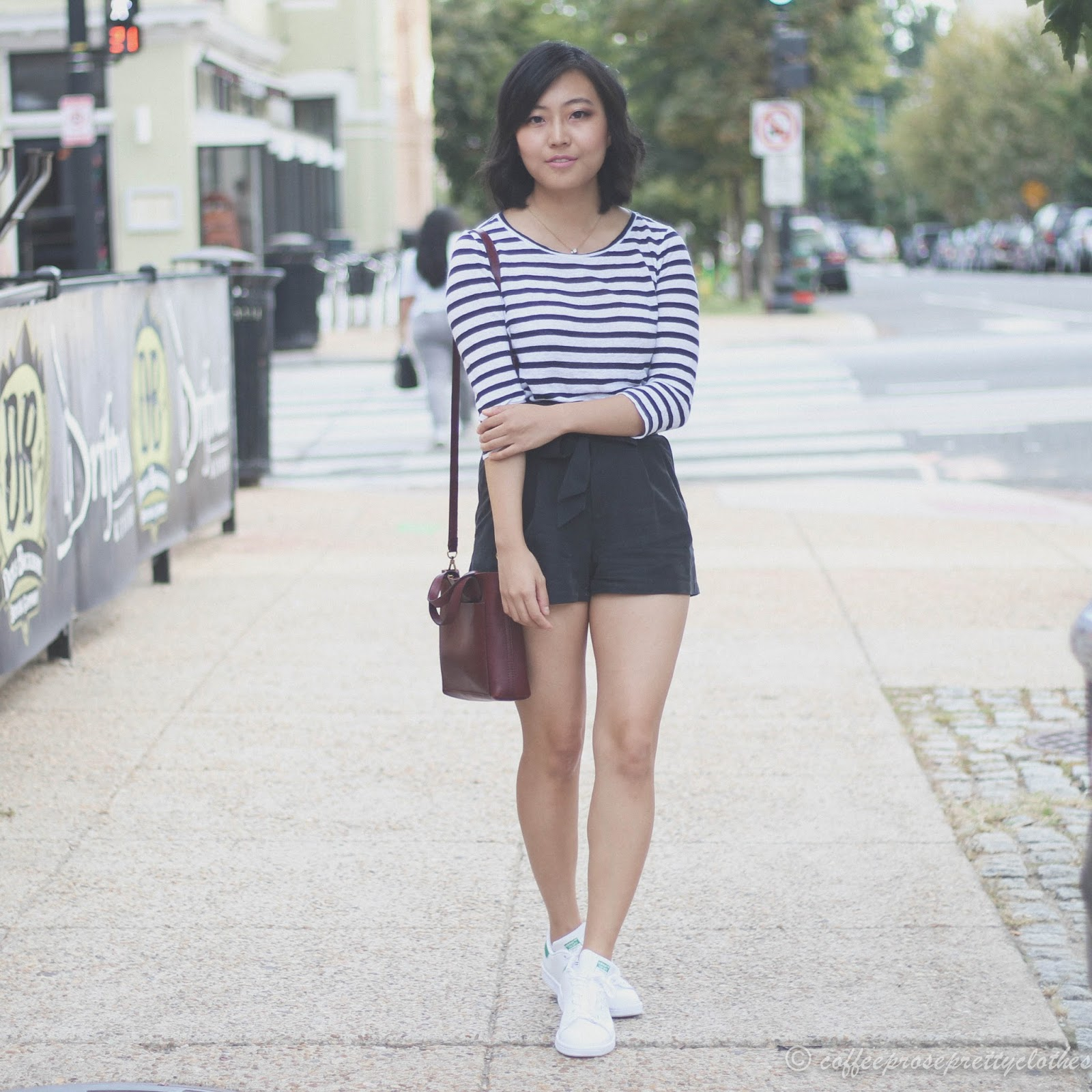 Madewell Transport Crossbody, Adidas Stan Smith, LOFT striped tee, H&M high waisted shorts