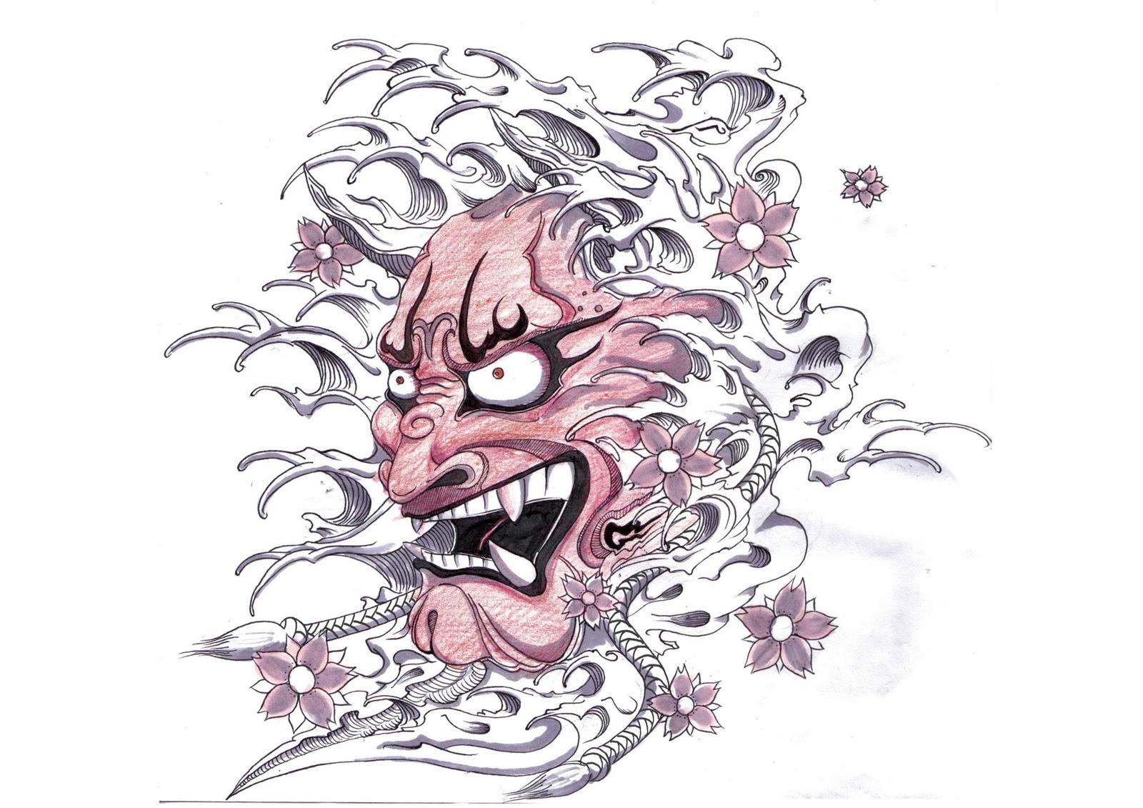 Hannya Mask Girl Tattoo: Hannya Mask Tattoo