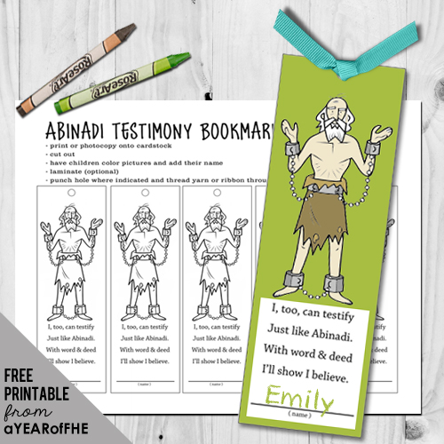 Free printable ABINADI bookmarks using clipart from lds.org and a poem by Emilie Ahern from A YEAR OF FHE.  Prints 5 to a page.  Kids can color them and put them in their scriptures to remember to bear their tetimony like Abinadi did. #lds #free #printable