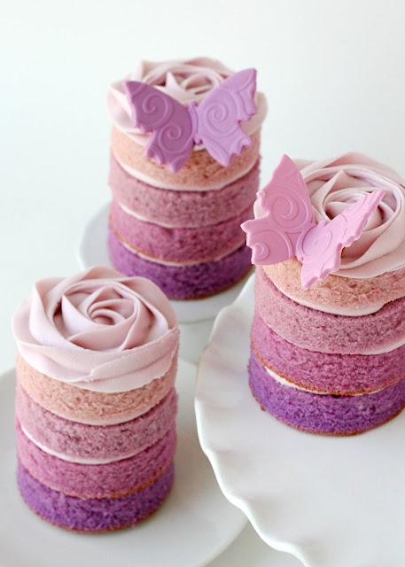 Purple Ombremini Cake - Mother's Day Dessert Recipes