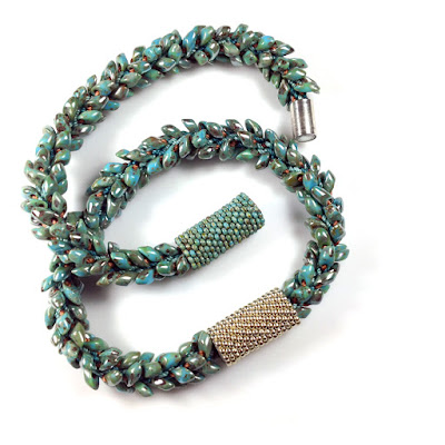 Kumihimo Bracelet with Long Magatamas, C-Lon Bead Cord & Peyote Stitch Beaded Clasp Sleeves