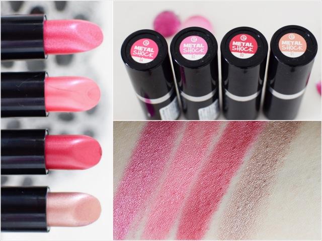 essence neues Sortiment metal shock lipstick, swatch