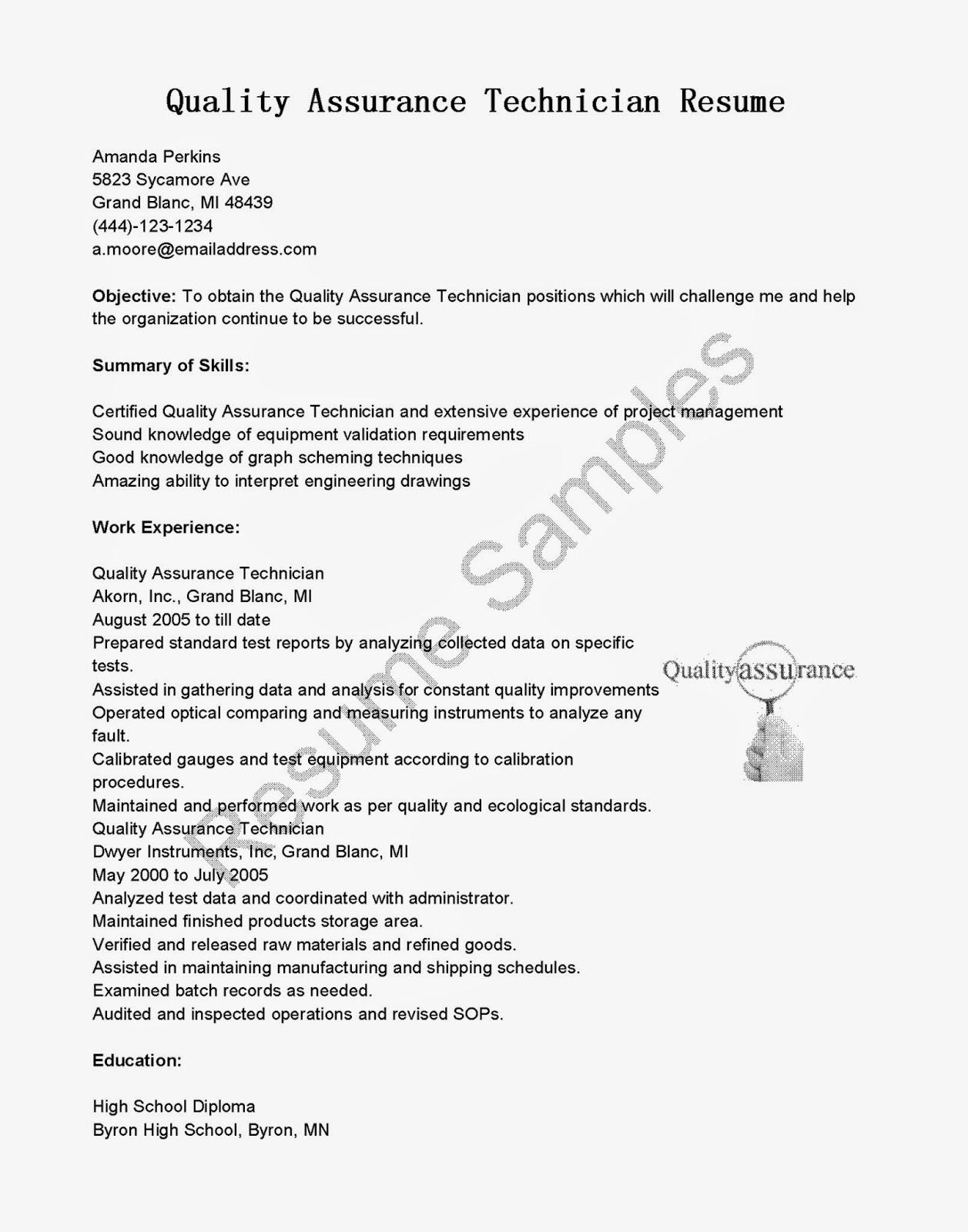 pharma quality assurance resume samples