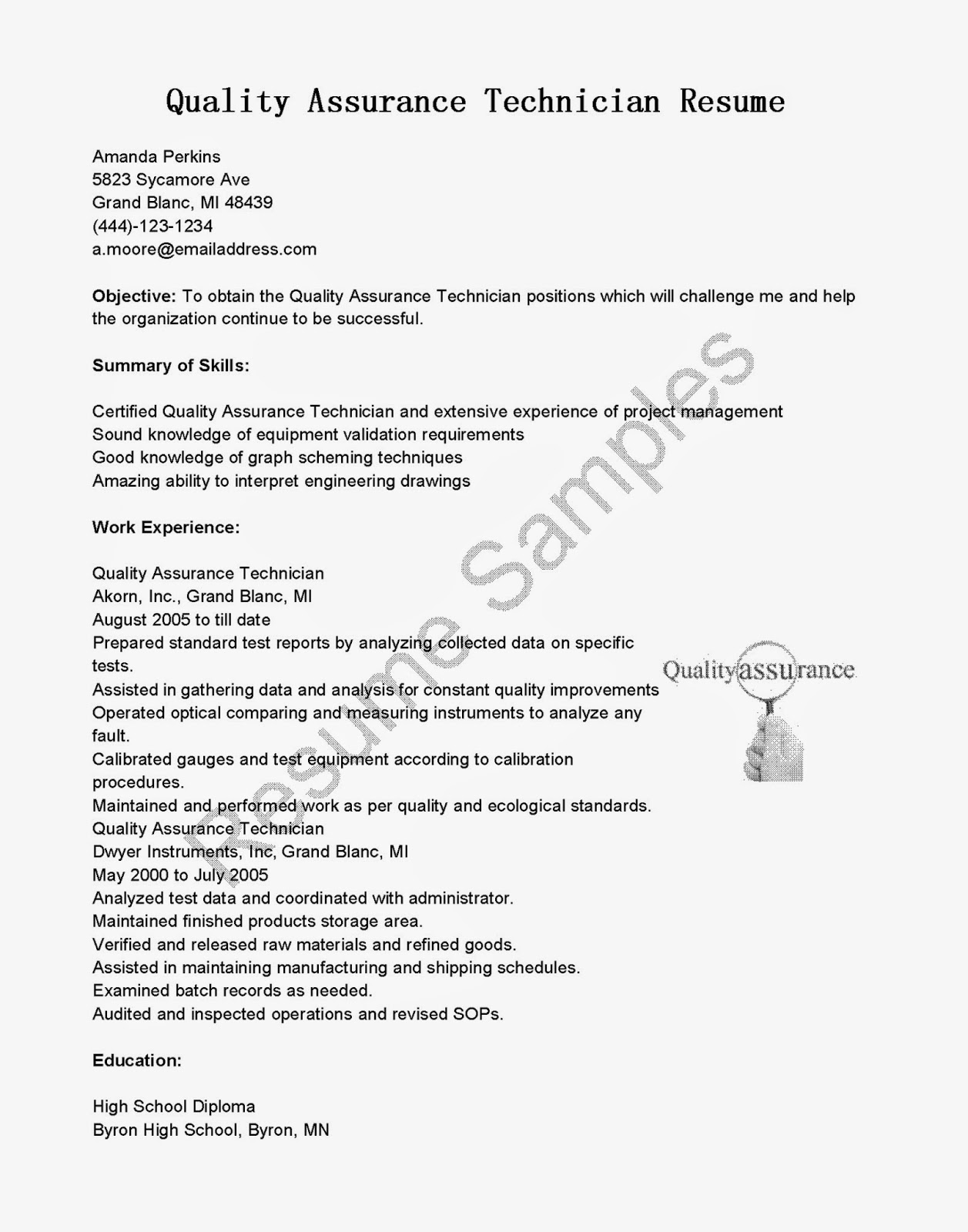 Resume Samples Quality Assurance Technician Sample