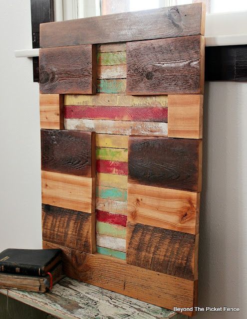 rustic cross, barnwood, lathe, cross sign, Easter decor, Minwax, paint, http://bec4-beyondthepicketfence.blogspot.com/2016/02/barnwood-lathe-cross-sign.html
