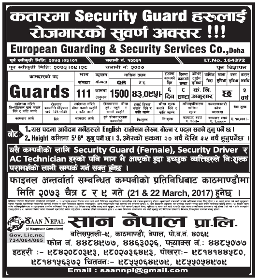 Jobs in Qatar for Nepali, Salary Rs 43,095