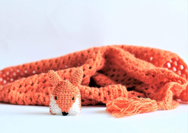 half granny shawl and crochet fox brooch