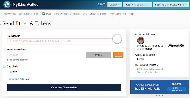 Giao diện myetherwallet